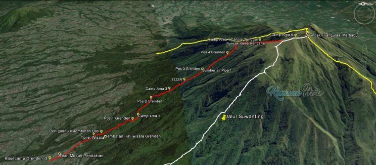 Merbabu Via Dusun Grenden tracklog GPS peta